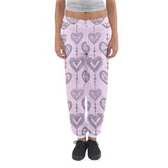 Sketches Ornamental Hearts Pattern Women s Jogger Sweatpants