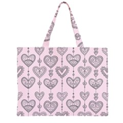 Sketches Ornamental Hearts Pattern Large Tote Bag