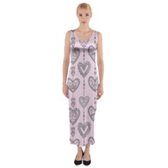 Sketches Ornamental Hearts Pattern Fitted Maxi Dress