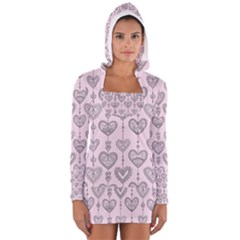 Sketches Ornamental Hearts Pattern Women s Long Sleeve Hooded T-shirt