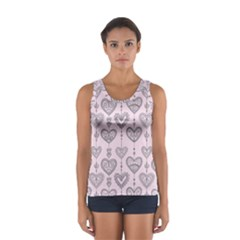 Sketches Ornamental Hearts Pattern Tops