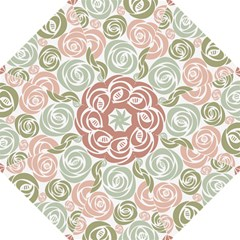 Retro Elegant Floral Pattern Hook Handle Umbrellas (medium)