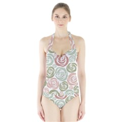Retro Elegant Floral Pattern Women s Halter One Piece Swimsuit