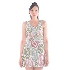 Retro Elegant Floral Pattern Scoop Neck Skater Dress