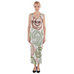 Retro Elegant Floral Pattern Fitted Maxi Dress
