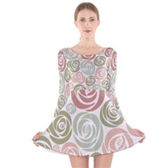 Retro Elegant Floral Pattern Long Sleeve Velvet Skater Dress
