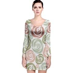 Retro Elegant Floral Pattern Long Sleeve Velvet Bodycon Dress
