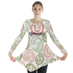 Retro Elegant Floral Pattern Long Sleeve Tunic
