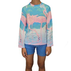 Two Pink Flamingos Pop Art Kid s Long Sleeve Swimwear