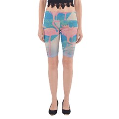 Two Pink Flamingos Pop Art Yoga Cropped Leggings