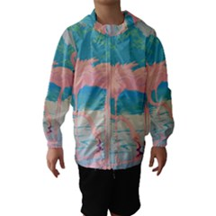 Two Pink Flamingos Pop Art Hooded Wind Breaker (kids)