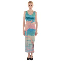 Two Pink Flamingos Pop Art Fitted Maxi Dress
