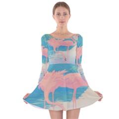 Two Pink Flamingos Pop Art Long Sleeve Velvet Skater Dress