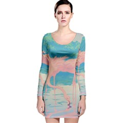 Two Pink Flamingos Pop Art Long Sleeve Velvet Bodycon Dress