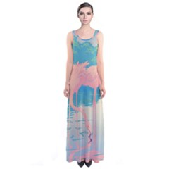 Two Pink Flamingos Pop Art Full Print Maxi Dress