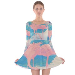 Two Pink Flamingos Pop Art Long Sleeve Velvet Skater Dress