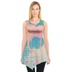 Two Pink Flamingos Pop Art Sleeveless Tunic