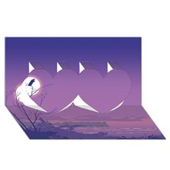 Abstract Tropical Birds Purple Sunset  Twin Hearts 3d Greeting Card (8x4)