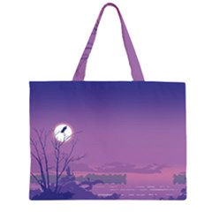 Abstract Tropical Birds Purple Sunset  Zipper Large Tote Bag