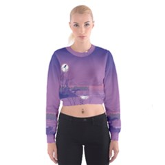 Abstract Tropical Birds Purple Sunset  Women s Cropped Sweatshirt