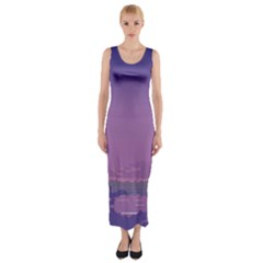 Abstract Tropical Birds Purple Sunset  Fitted Maxi Dress