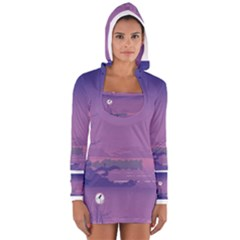 Abstract Tropical Birds Purple Sunset  Women s Long Sleeve Hooded T-shirt