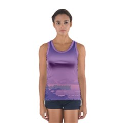 Abstract Tropical Birds Purple Sunset  Tops