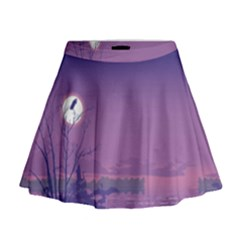 Abstract Tropical Birds Purple Sunset  Mini Flare Skirt