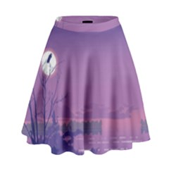 Abstract Tropical Birds Purple Sunset  High Waist Skirt