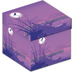 Abstract Tropical Birds Purple Sunset Storage Stool 12