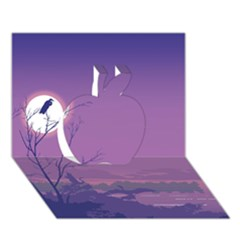 Abstract Tropical Birds Purple Sunset Apple 3D Greeting Card (7x5)