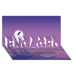 Abstract Tropical Birds Purple Sunset Engaged 3d Greeting Card (8x4)