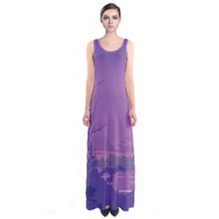 Abstract Tropical Birds Purple Sunset Full Print Maxi Dress