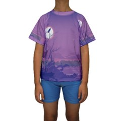 Abstract Tropical Birds Purple Sunset Kid s Short Sleeve Swimwear