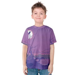 Abstract Tropical Birds Purple Sunset Kid s Cotton Tee