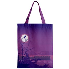 Abstract Tropical Birds Purple Sunset Zipper Classic Tote Bag