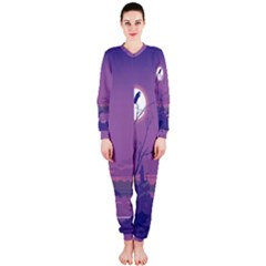 Abstract Tropical Birds Purple Sunset Onepiece Jumpsuit (ladies)