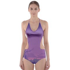 Abstract Tropical Birds Purple Sunset Cut Out One Piece Swimsuit