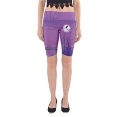 Abstract Tropical Birds Purple Sunset Yoga Cropped Leggings