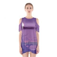 Abstract Tropical Birds Purple Sunset Cutout Shoulder Dress