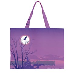 Abstract Tropical Birds Purple Sunset Large Tote Bag