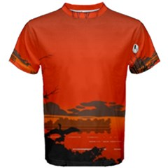 Tropical Birds Orange Sunset Landscape Men s Cotton Tee