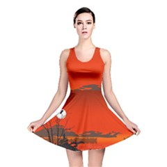 Tropical Birds Orange Sunset Landscape Reversible Skater Dress