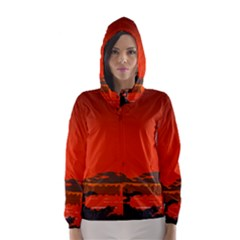 Tropical Birds Orange Sunset Landscape Hooded Wind Breaker (women)