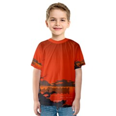 Tropical Birds Orange Sunset Landscape Kid s Sport Mesh Tee