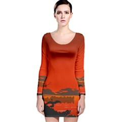 Tropical Birds Orange Sunset Landscape Long Sleeve Velvet Bodycon Dress