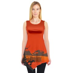 Tropical Birds Orange Sunset Landscape Sleeveless Tunic