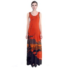 Tropical Birds Orange Sunset Landscape Full Print Maxi Dress