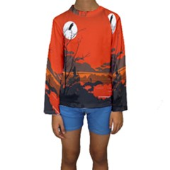 Tropical Birds Orange Sunset Landscape Kid s Long Sleeve Swimwear