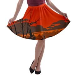 Tropical Birds Orange Sunset Landscape A-line Skater Skirt